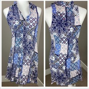 CUPIO Blue Mixed Print Button Up Tunic/Mini Dress